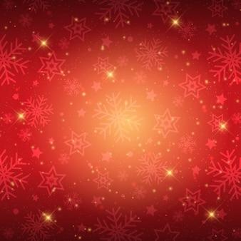 Flocos de neve de natal fundo vermelho