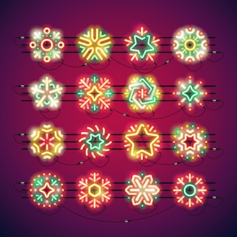 Flocos de neve de néon colorido de natal