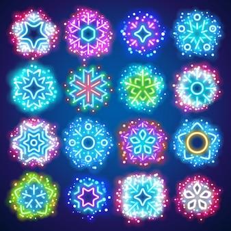 Flocos de neve de néon de natal com brilhos mágicos
