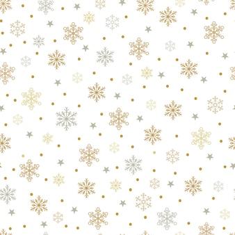 Flocos de neve de ouro e prata e estrelas sem costura padrão