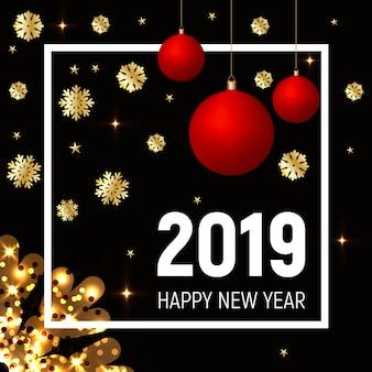 Flocos de neve dourados e bolas vermelhas, ano novo de 2019