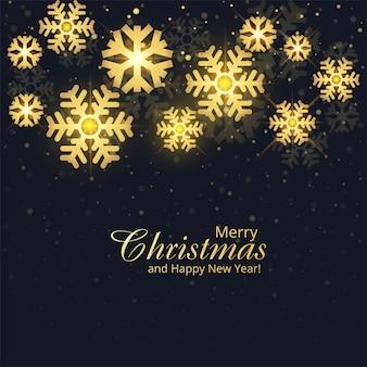 Flocos de neve dourados feliz natal cartão fundo de férias
