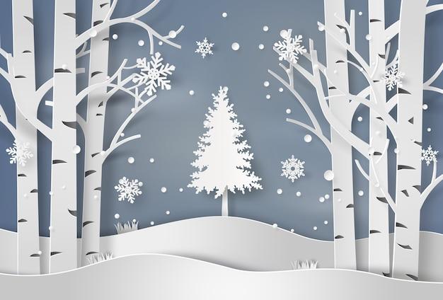 Flocos de neve e árvore de natal