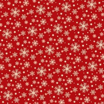 Flocos de neve e estrelas de padrão vermelho