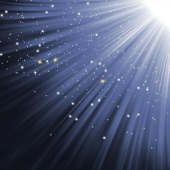 Flocos de neve e estrelas no caminho da luz.
