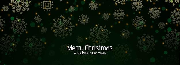 Flocos de neve elegantes caindo banner de feliz natal
