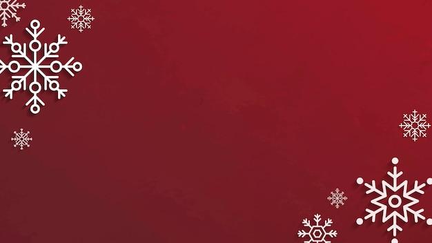 Flocos de neve em fundo vermelho