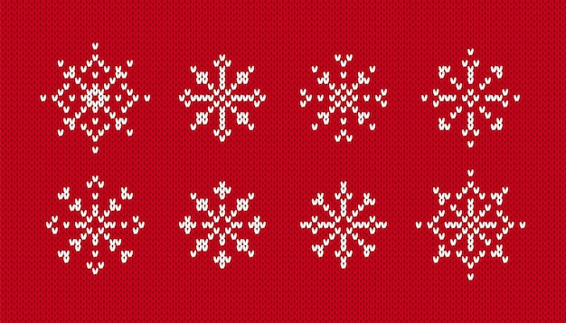 Flocos de neve em padrão de malha. vetor. conjunto de símbolos de natal de inverno em fundo vermelho transparente