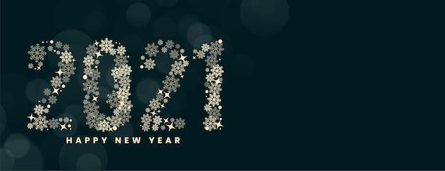 Flocos de neve feliz ano novo de 2021 no banner bokeh desfocado