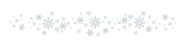 Flocos de neve. fundo branco de inverno com borda de flocos de neve. fundo de natal para cartão. floco de neve. ornamento ou desenho de natal. ilustração vetorial