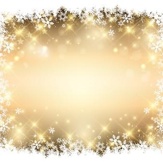 Flocos de neve fundo dourado