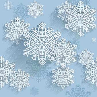 Flocos de neve, ilustração vetorial, fundo padrão sem emenda