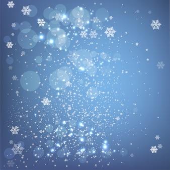 Flocos de neve lindos de natal em fundo azul