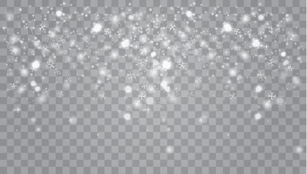 Flocos de neve, neve. queda de natal brilhando transparente