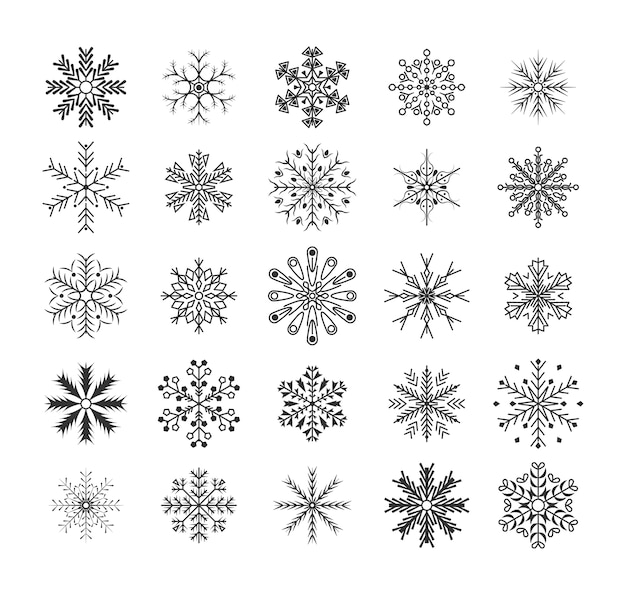 Flocos de neve pretos de linha design plano conjunto de elementos de decoração de natal e ano novo. Vetor Premium