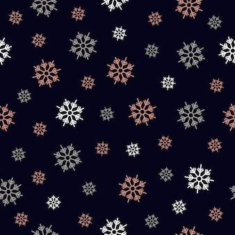 Flocos de neve rosa ouro padrão sem emenda
