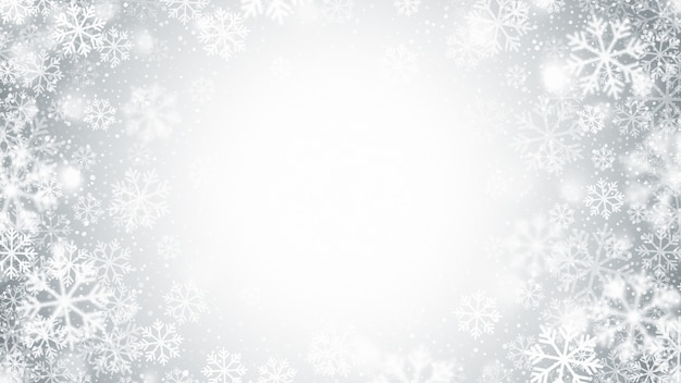Flocos de neve voando em movimento borrado decoração de natal abstrata em fundo prateado claro