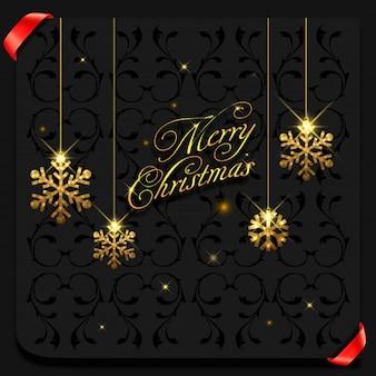 Flocos de ouro feliz natal