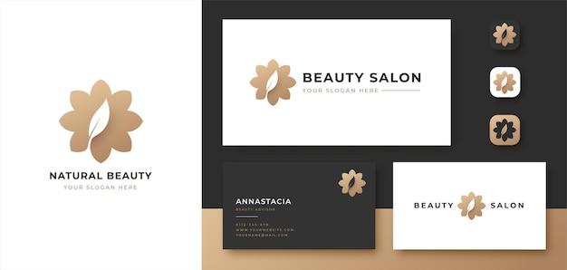 Flor abstrata com logotipo da folha e design de cartão de visita