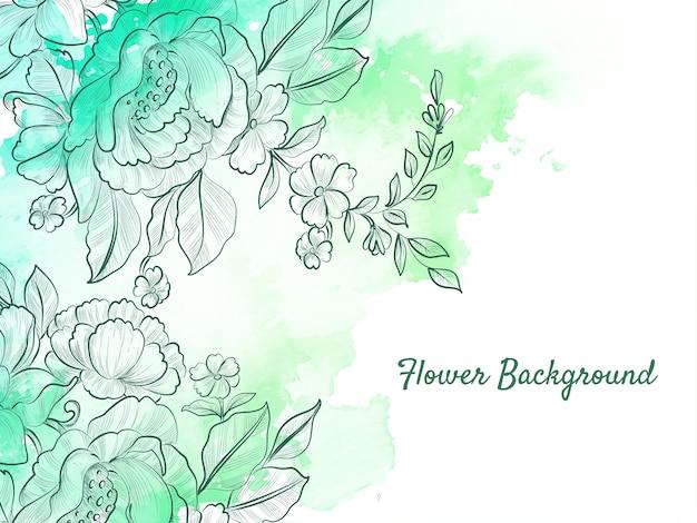 Flor abstrata desenhada à mão com fundo pastel verde suave