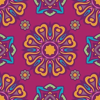 Flor abstrata e estrelas ornamentais sem costura padrão.