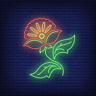 Flor abstrata emblema sinal de néon