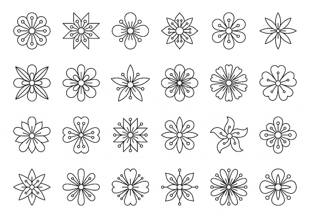 Flor abstrata geométrica camomila simples linha preta ícone conjunto, padrão de beleza de primavera.