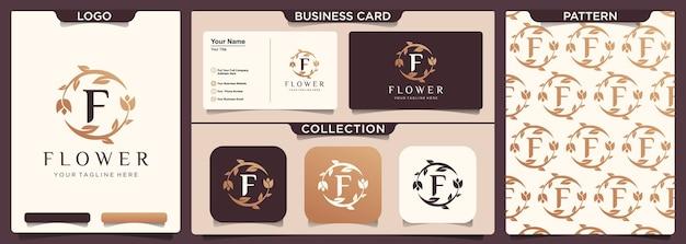 Flor abstrata rosa com design de vetor de ícone de logotipo de letra f.