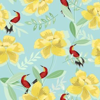 Flor amarela com folha verde e zumbido padrão sem emenda de pássaro.