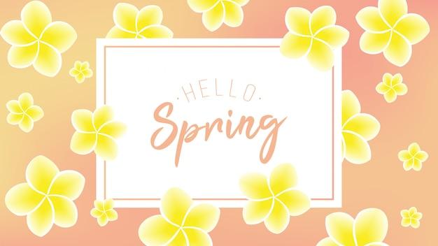 Flor amarela com olá texto de primavera