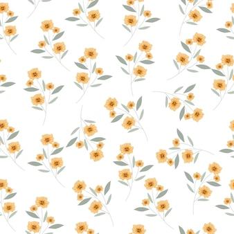 Flor amarela e azul folhas padrão sem emenda