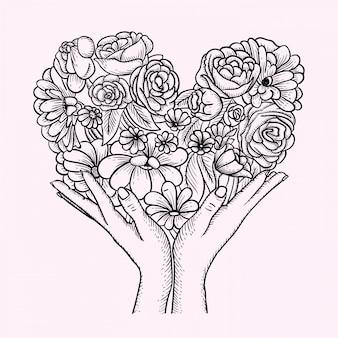 Flor amor mão desenhada
