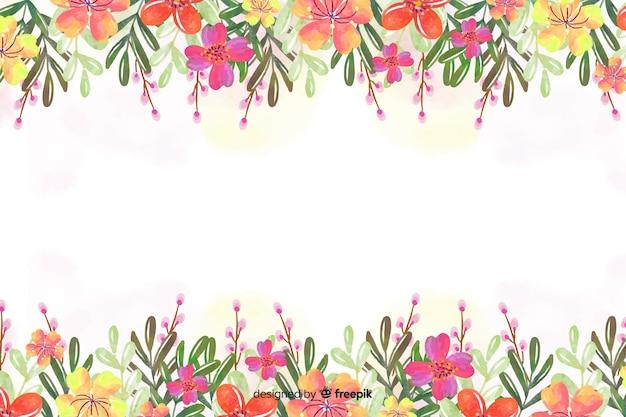 Flor aquarela e folhas de fundo