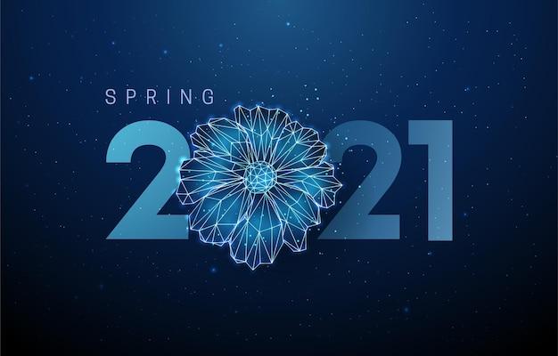 Flor azul abstrata e número do ano novo.