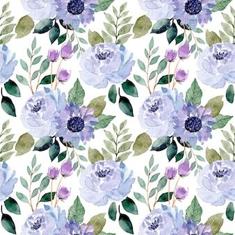Flor azul e folhas verdes em aquarela sem costura padrão