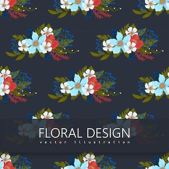 Flor backrounds vermelho, azul claro, branco flores sem costura padrão