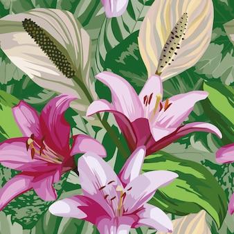 Flor begônia deixa papel de parede padrão sem emenda