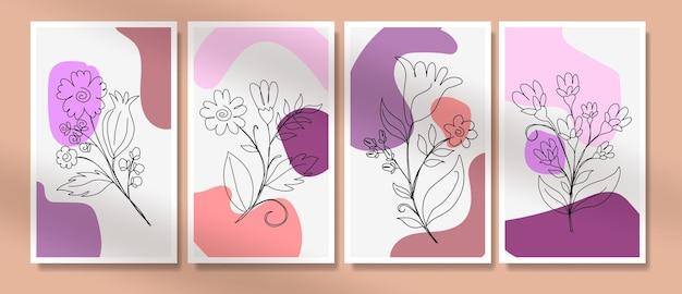 Flor boho pôster capa um desenho de linha