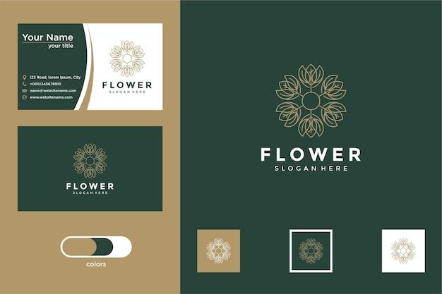 Flor bonita e elegante com design de estilo de linha e cartão de visita
