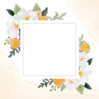 Flor branca aquarela e moldura de coroa de frutas laranja