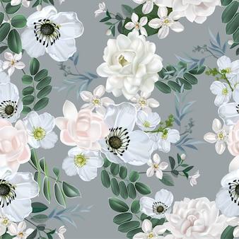 Flor branca com jasmim sem costura padrão em branco