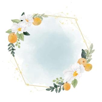 Flor branca em aquarela e grinalda de fruta laranja com moldura de geometria dourada