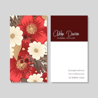 Flor cartões de visita flores vermelhas