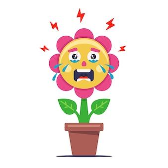 Flor chorando de má ecologia. a planta está doente e murcha. ilustração de personagem plana.