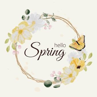 Flor colorida da primavera desenhada à mão em aquarela e coroa do buquê de folhas verdes