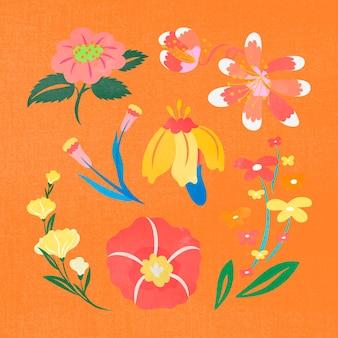 Flor colorida, ilustração vetorial de clipart de primavera