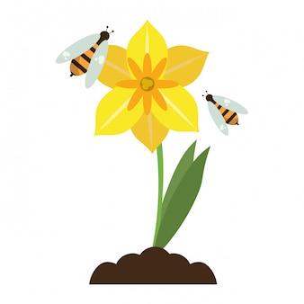 Flor, com, abelhas, caricatura, isolado