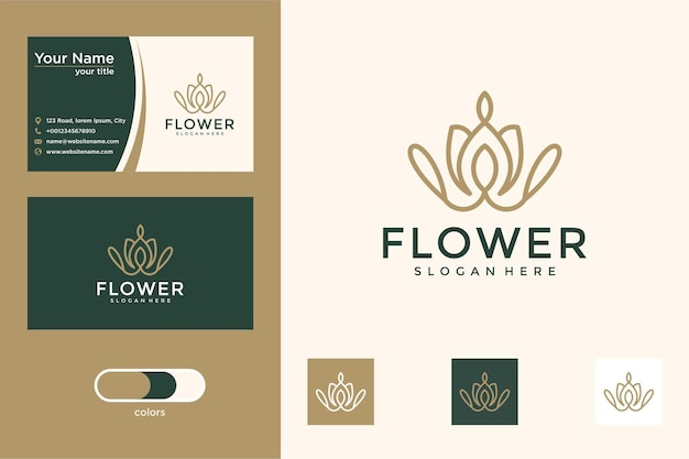 Flor com cartão de visita de design de logotipo de estilo de linha