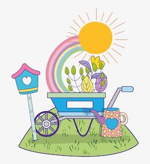 Flor, com, folhas plantas, em, a, primavera, e, carrinho de mão