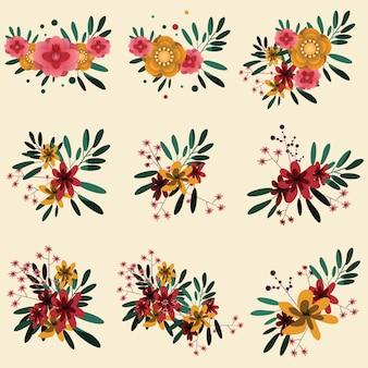 Flor conjunto ilustração vetorial